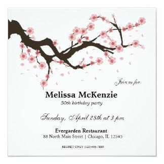 "Cherry Blossom birthday party 5.25"" Square Invitation Card"