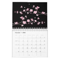 Cherry Blossom - Black Calendar
