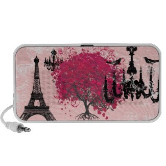 Cherry Blossom Black Chandeliers Eiffel Tower doodle
