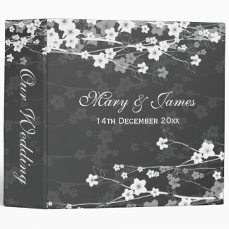 Cherry Blossom Black Elegant Wedding 3 Ring Binder