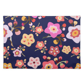 Cherry Blossom Blue Placemat Cloth Placemat