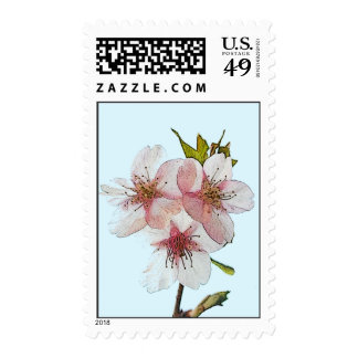 Cherry Blossom Blue Postage Stamps