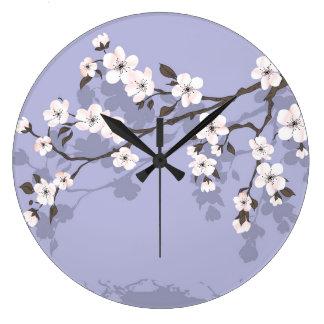 Cherry blossom blue round wall clock