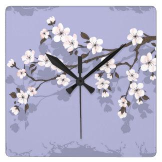 Cherry blossom blue square clock