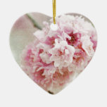 Cherry Blossom Botanical Double-Sided Heart Ceramic Christmas Ornament