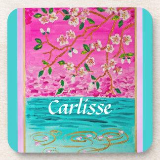 Cherry Blossom Branch Sakura Water Ripple Painting Coasters