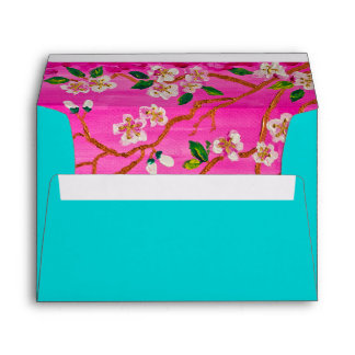 Cherry Blossom Branch Sakura Water Ripple Painting Envelope