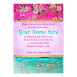 Cherry Blossom Branch Sakura Water Ripple Painting 5x7 Paper Invitation Card