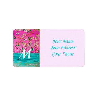 Cherry Blossom Branch Sakura Water Ripple Painting Address Label