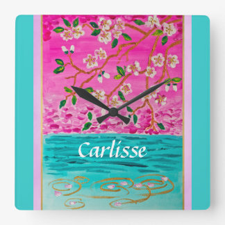 Cherry Blossom Branch Sakura Water Ripple Painting Square Wall Clock