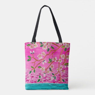 Cherry Blossom Branch Sakura Water Ripple Painting Tote Bag