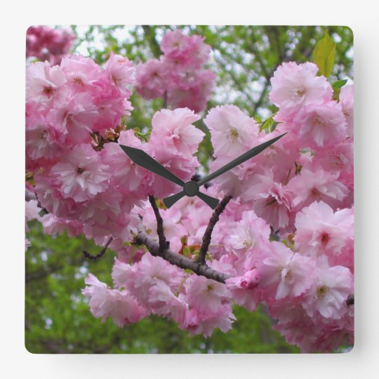 Cherry Blossom Branch Square Wall Clock