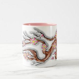 Cherry Blossom Branch Two-Tone Coffee Mug