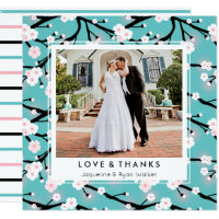 Cherry Blossom Branches Wedding Photo Thank You Card