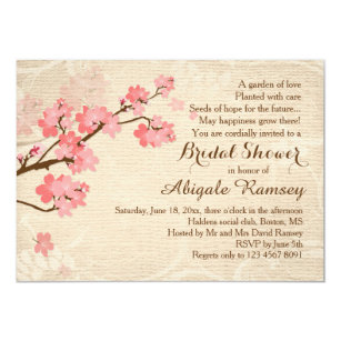 cherry blossoms bridal shower invitations zazzle