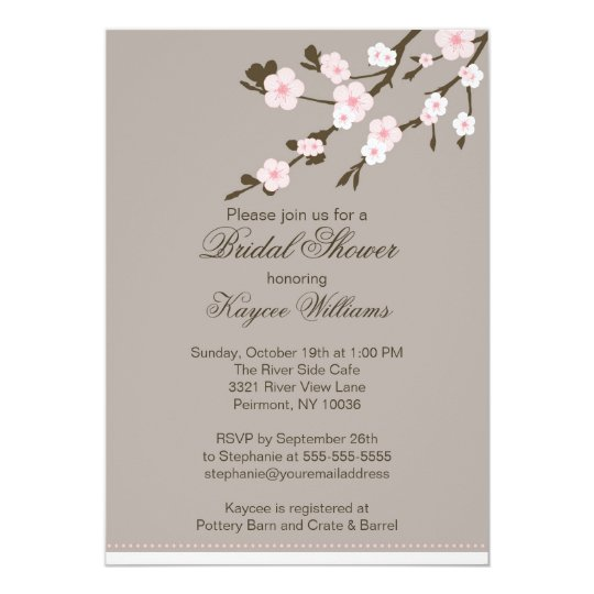 cherry blossom bridal shower invitation zazzle. Black Bedroom Furniture Sets. Home Design Ideas