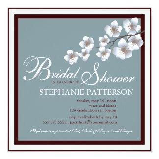 """Cherry Blossom Bridal Shower Invitation Blue Brown 5.25"""" Square Invitation Card"""