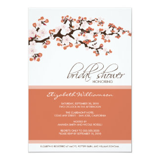 Cherry Blossom Bridal Shower Invitation (coral)