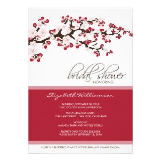 Cherry Blossom Bridal Shower Invitation crimson