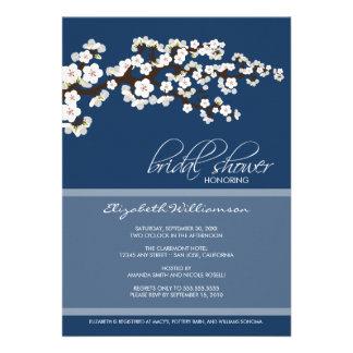 Cherry Blossom Bridal Shower Invitation navy