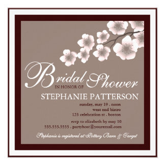 Cherry Blossom Bridal Shower Invitation PInk Brown