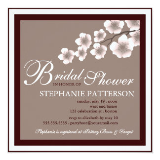 "Cherry Blossom Bridal Shower Invitation PInk Brown 5.25"" Square Invitation Card"