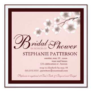 Cherry Blossom Bridal Shower Invitation PInk Brown