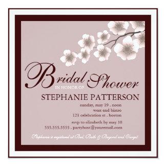 Cherry Blossom Bridal Shower Invitation Plum Brown