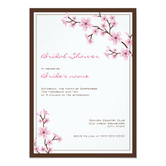 "Cherry Blossom Bridal Shower Invitations 5"" X 7"" Invitation Card"