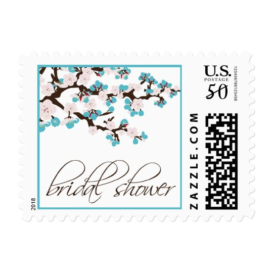 Cherry Blossom Bridal Shower Invite Stamp (aqua)