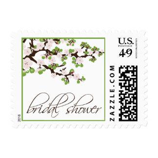 Cherry Blossom Bridal Shower Invite Stamp (lime)