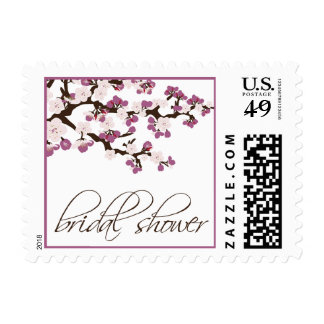 Cherry Blossom Bridal Shower Invite Stamp (purple)
