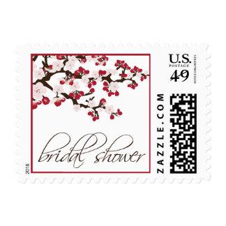 Cherry Blossom Bridal Shower Invite Stamp (red)