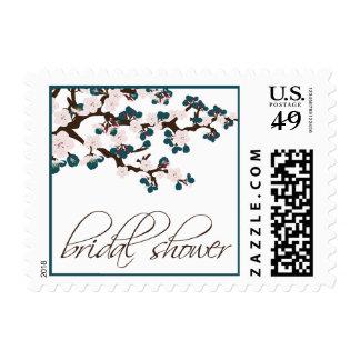 Cherry Blossom Bridal Shower Invite Stamp (teal)