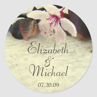 Cherry Blossom Bride and Groom Wedding Sticker