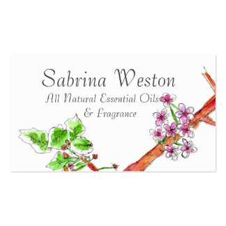Cherry Blossom Business Cards Botanical Drawing