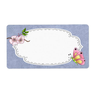 Cherry Blossom Butterfly Label Personalized Shipping Labels