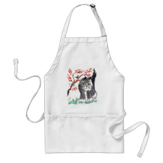 Cherry Blossom Cat and Bird Adult Apron