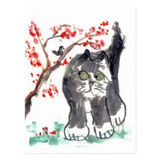 Cherry Blossom Cat and Bird Postcard