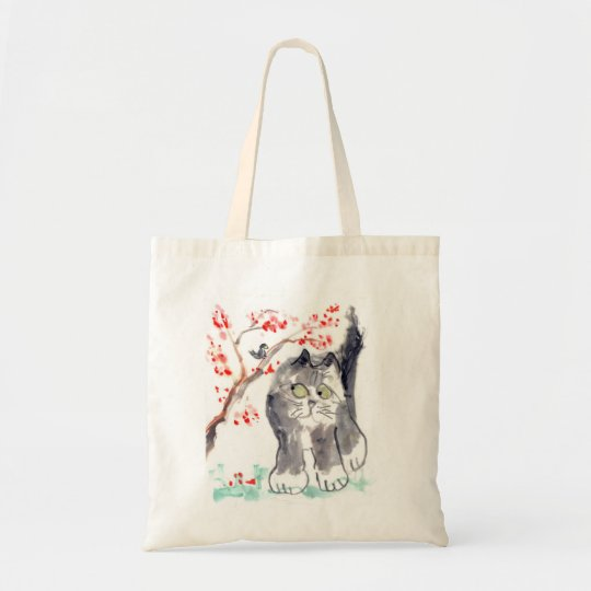 Cherry Blossom cat and Chick-a-Dee Tote Bag