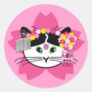 Cherry-blossom cat stickers
