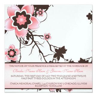 Cherry Blossom Classy Pink & Brown Wedding Invite