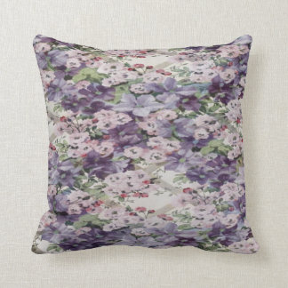 Cherry Blossom & Clematis Throw Cushion Throw Pillow