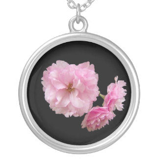 Cherry Blossom Cluster Silver Plated Necklace