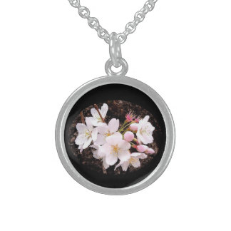 Cherry Blossom Cluster Sterling Silver Necklace