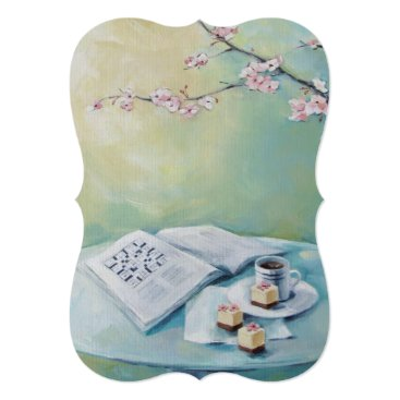 Coffee Themed Cherry Blossom, Coffee, Crossword Blank Invitation