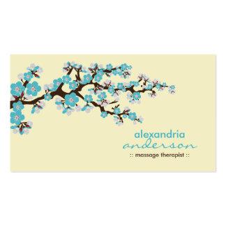 Cherry Blossom Custom Business Cards (aqua)