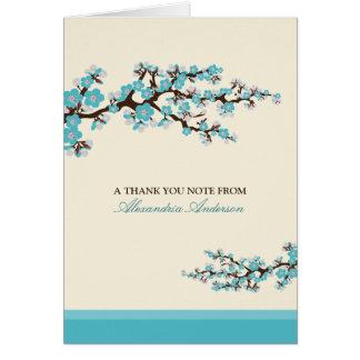 Cherry Blossom Custom Thank You Card (aqua)