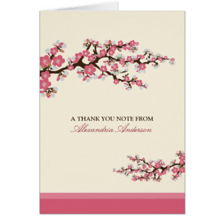 Cherry Blossom Custom Thank You Card (pink)