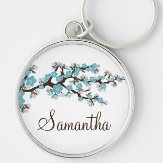 Cherry Blossom Customized Keychain (aqua)